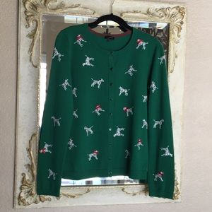 Talbots sweater. Green with Dalmatians. Size S